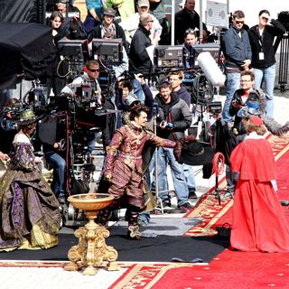 Milla Jovovich, Orlando Bloom, Christoph Waltz in On The Set of 'The Three Musketeers'