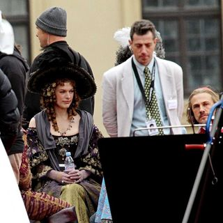 Milla Jovovich, Christoph Waltz in On The Set of 'The Three Musketeers'
