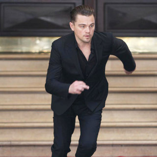 Leonardo DiCaprio in Leonardo DiCaprio on The Set of A Commercial Film for A Chinese Telephonic Network