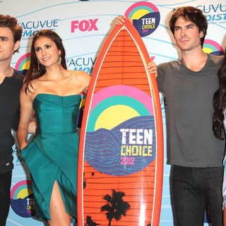 Paul Wesley, Nina Dobrev, Ian Somerhalder, Katerina Graham in The 2012 Teen Choice Awards - Press Room
