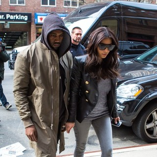 Kanye West, Kim Kardashian in Kim Kardashian and Kanye West Arriving at A Hotel