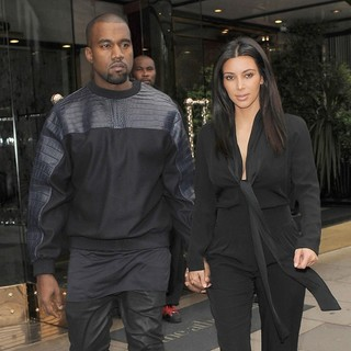 Kanye West, Kim Kardashian in Kim Kardashian and Kanye West Leave Their Hotel Holding Hands