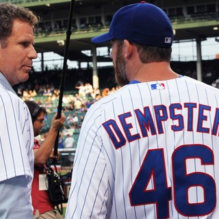 Will Ferrell, Ryan Dempster in Zach Galifianakis and Will Ferrell Promote Movie The Campaign by Throwing Out A Dueling First Pitch