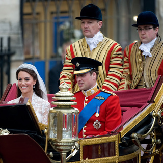 Prince William, Kate Middleton in Catherine Middleton, Duchess of Cambridge, with Prince William, Duke of Cambridge, leaving the Abbey