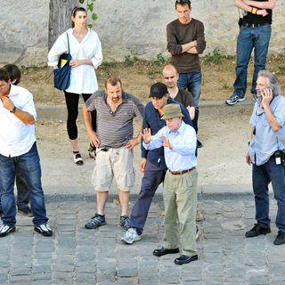 Woody Allen in Woody Allen Instructs His Team on The Set of His New Film 'Midnight in Paris' on The Dock of Seine