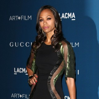 Zoe Saldana in LACMA 2013 Art and Film Gala Honoring Martin Scorsese and David Hockney Presented by Gucci