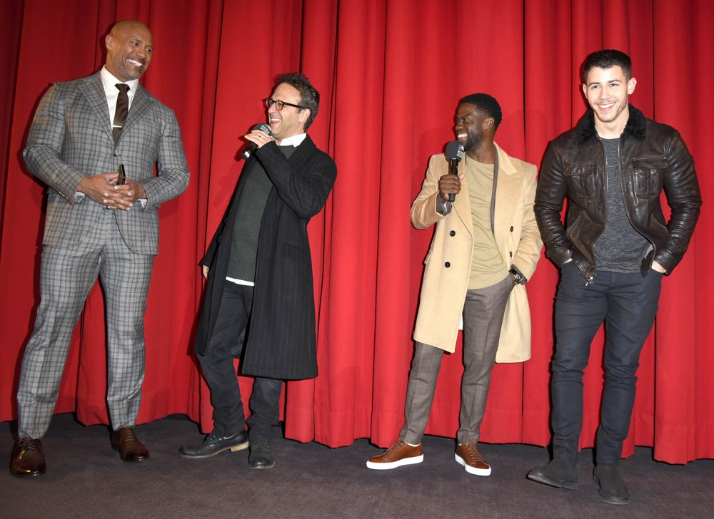 The Rock, Jake Kasdan, Kevin Hart, Nick Jonas<br>German Premiere of The Movie Jumanji - Welcome to the Jungle