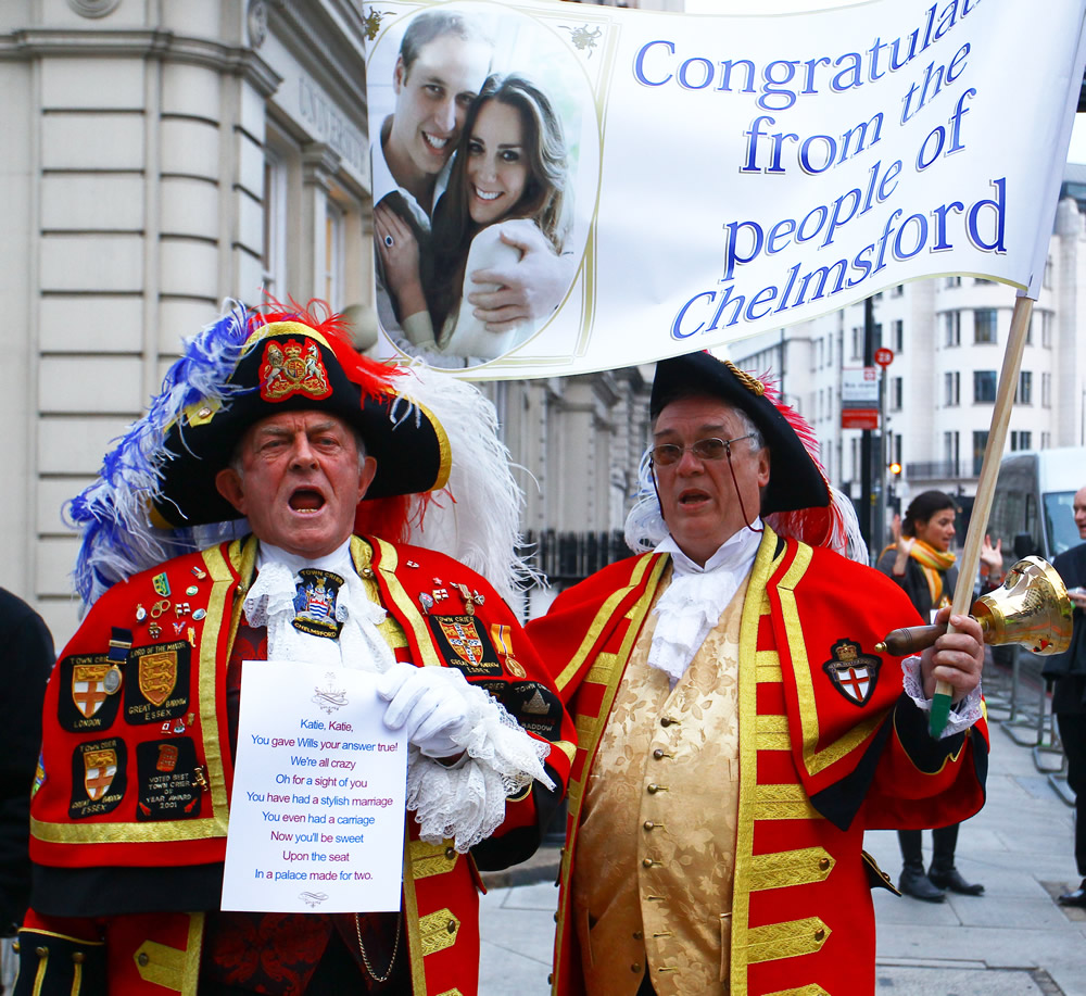 Town criers arrive at the Goring Hotel The Wedding of Prince William and Catherine Middleton