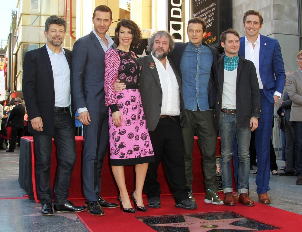 Andy Serkis, Richard Armitage, Evangeline Lilly, Peter Jackson, Orlando Bloom, Elijah Wood, Lee Pace<br>Peter Jackson Honored with A Star on The Hollywood Walk of Fame