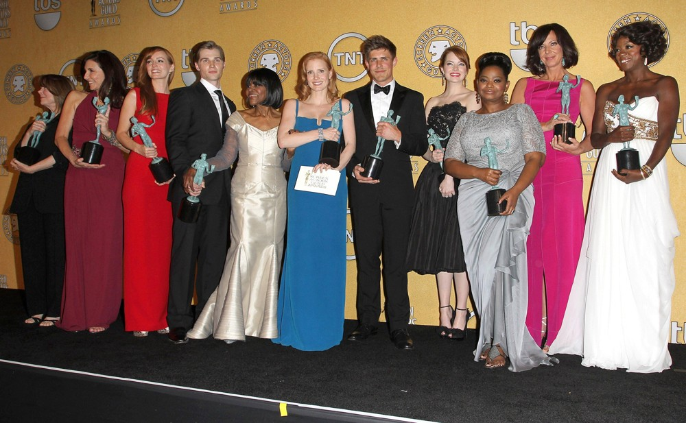 Sissy Spacek, Mary Steenburgen, Ahna O'Reilly, Mike Vogel, Cicely Tyson, Jessica Chastain, Chris Lowell, Emma Stone, Octavia Spencer, Allison Janney, Viola Dav<br>The 18th Annual Screen Actors Guild Awards - Press Room