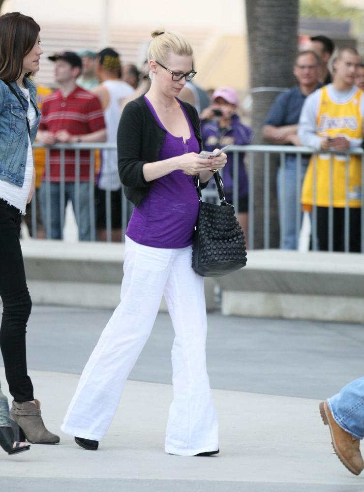January Jones<br>Celebrities Arrive at The Staples Center for Game 1 of The NBA Western Conference Semi-Finals