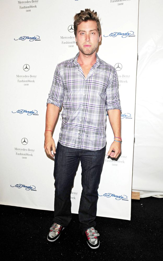 Lance Bass<br>Backstage at Ed Hardy Fashion Show During 2011 Mercedes-Benz Fashion Week Swim